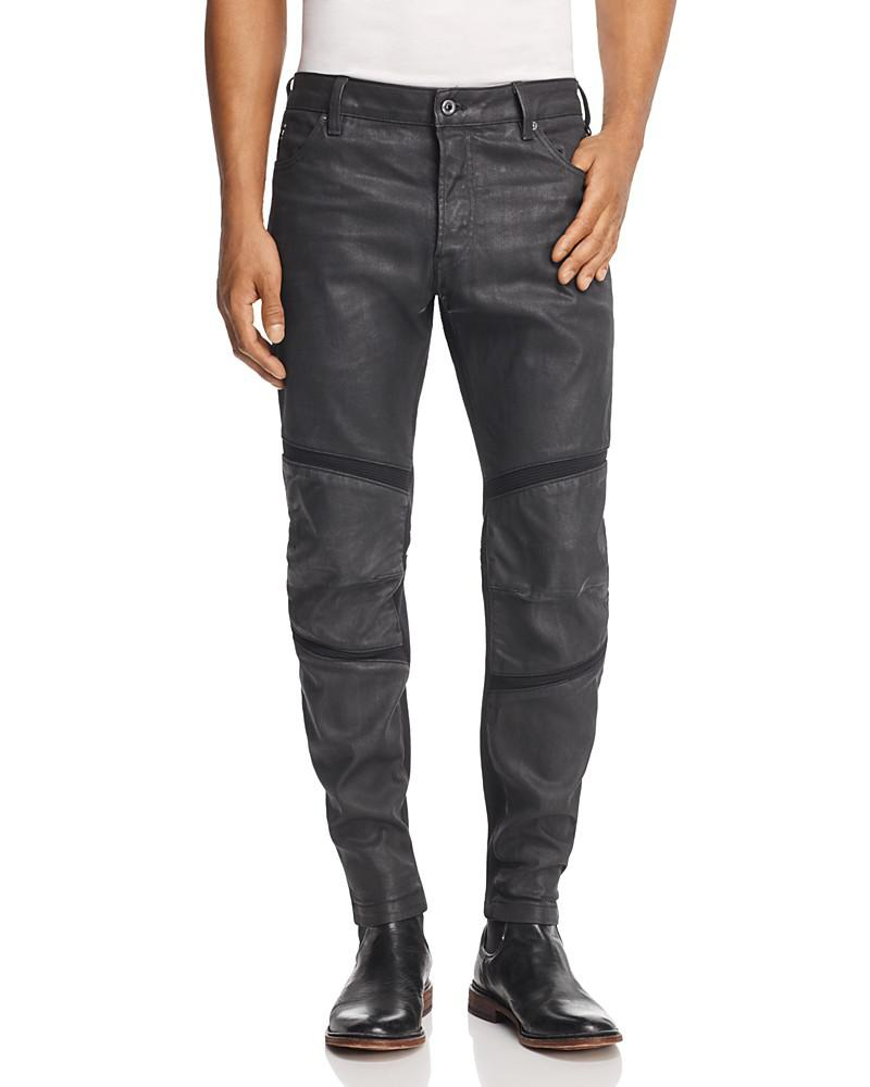 g-star raw motac 3d slim fit coated jeans in dark grey
