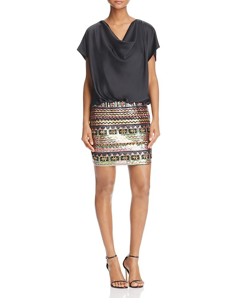 aidan aidan sequin-skirt charmeuse blouson dress - 100% exclusive