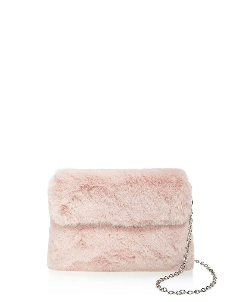street level faux fur clutch