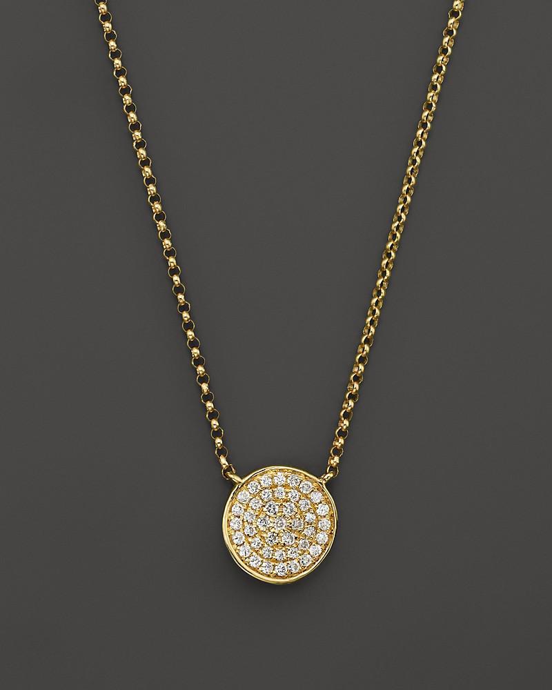 "kc designs diamond pavé disc pendant necklace in 14k yellow gold, 17.5"""