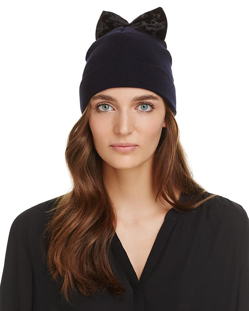 federica moretti knit cap with velvet bow - 100% exclusive