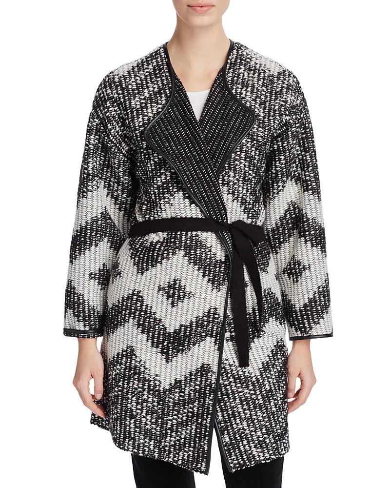 basler chevron knit belted cardigan