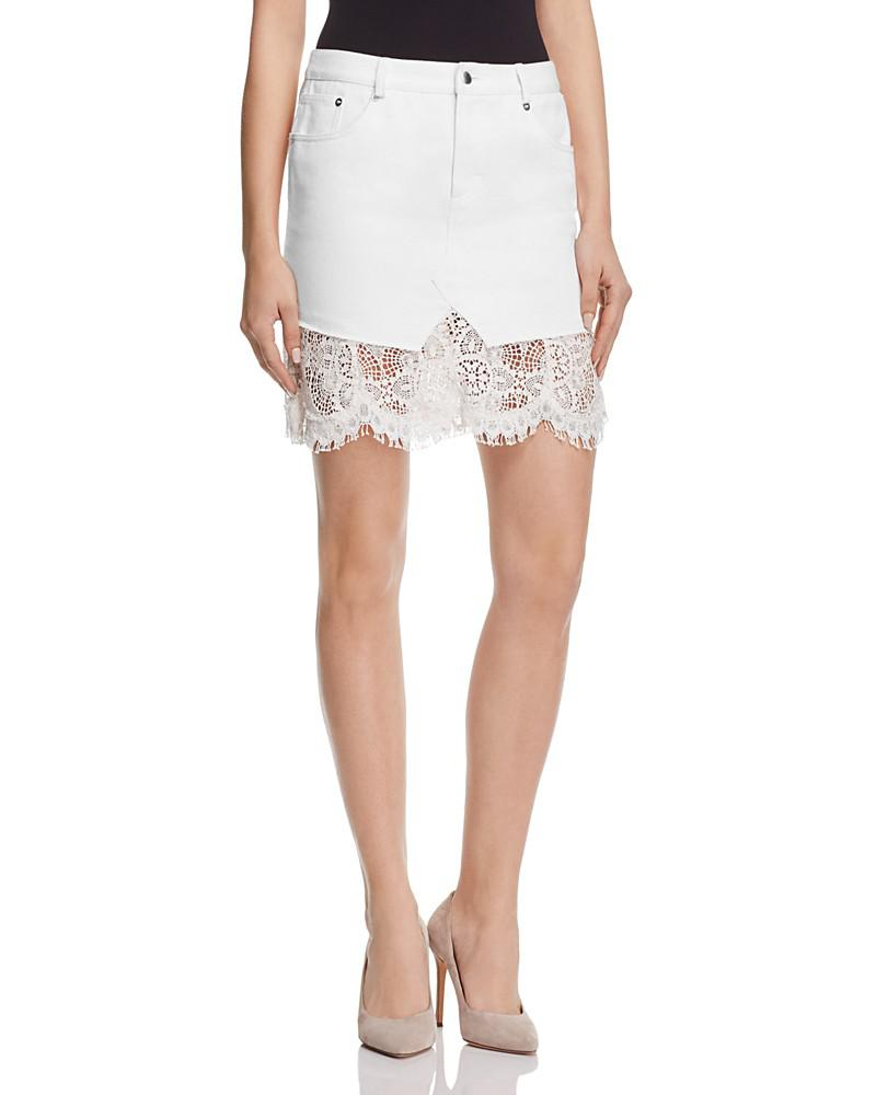 mcq alexander mcqueen short denim lace hybrid skirt