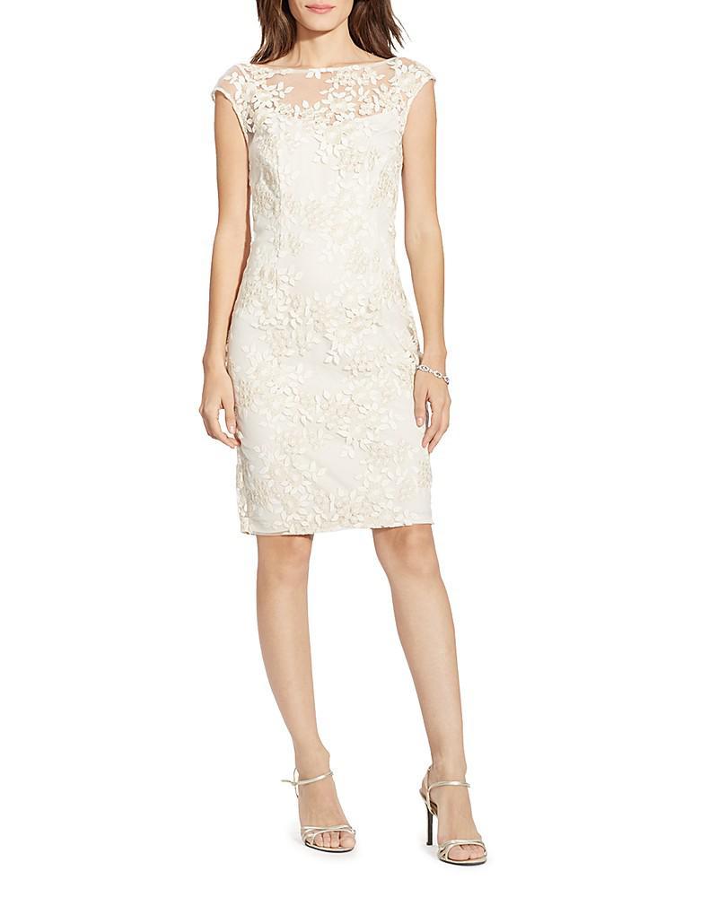 lauren ralph lauren embroidered floral overlay dress