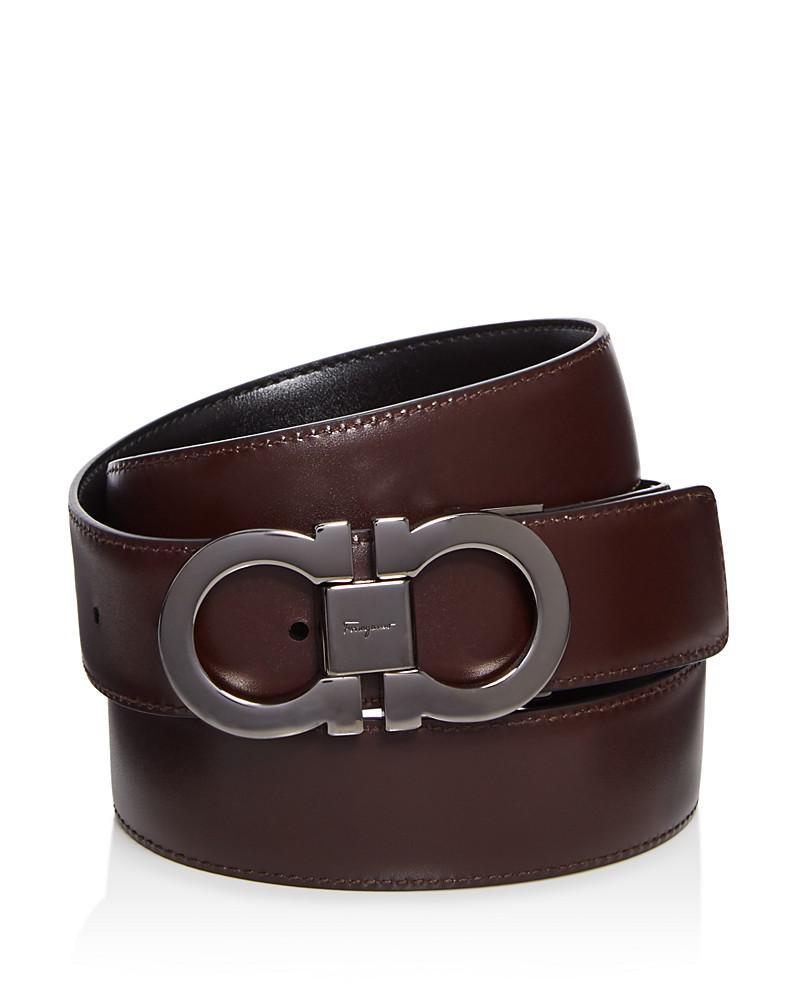 salvatore ferragamo reversible leather belt with double gancini buckle