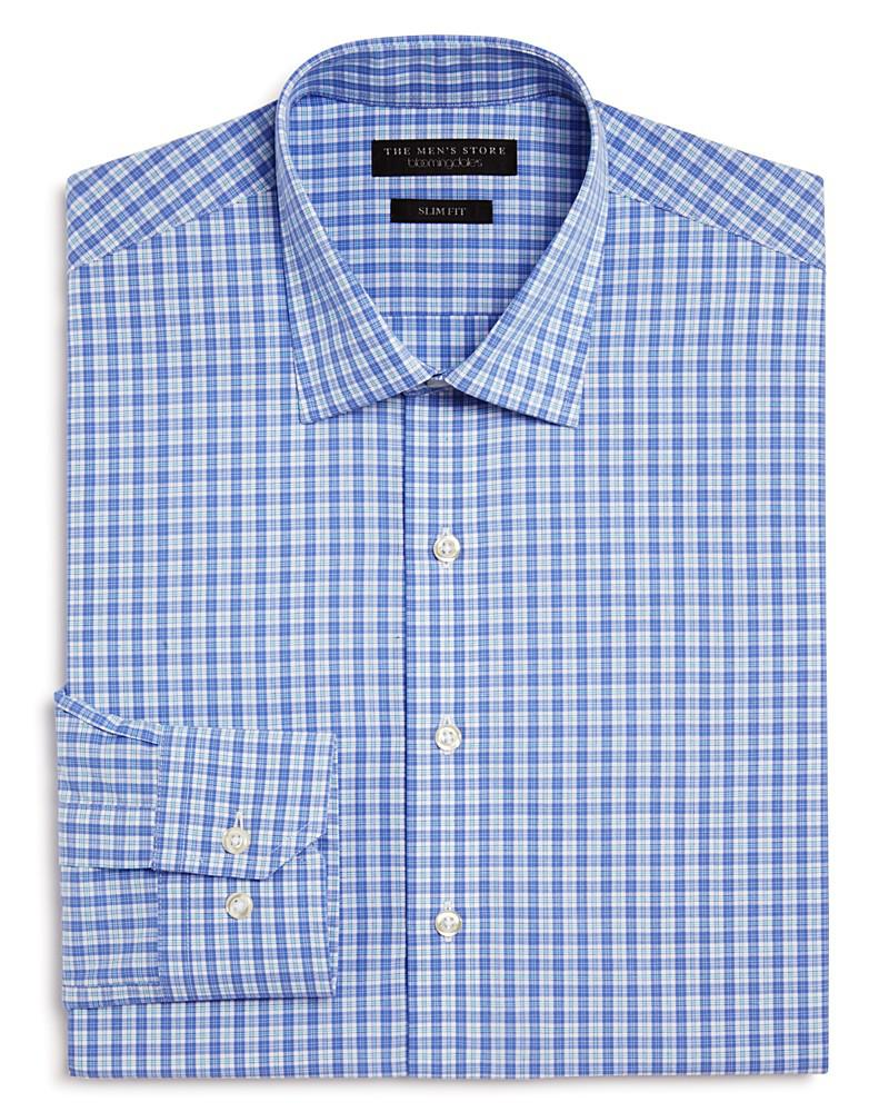 the men's store at bloomingdale's small plaid check slim fit dress shirt - 100% exclusive