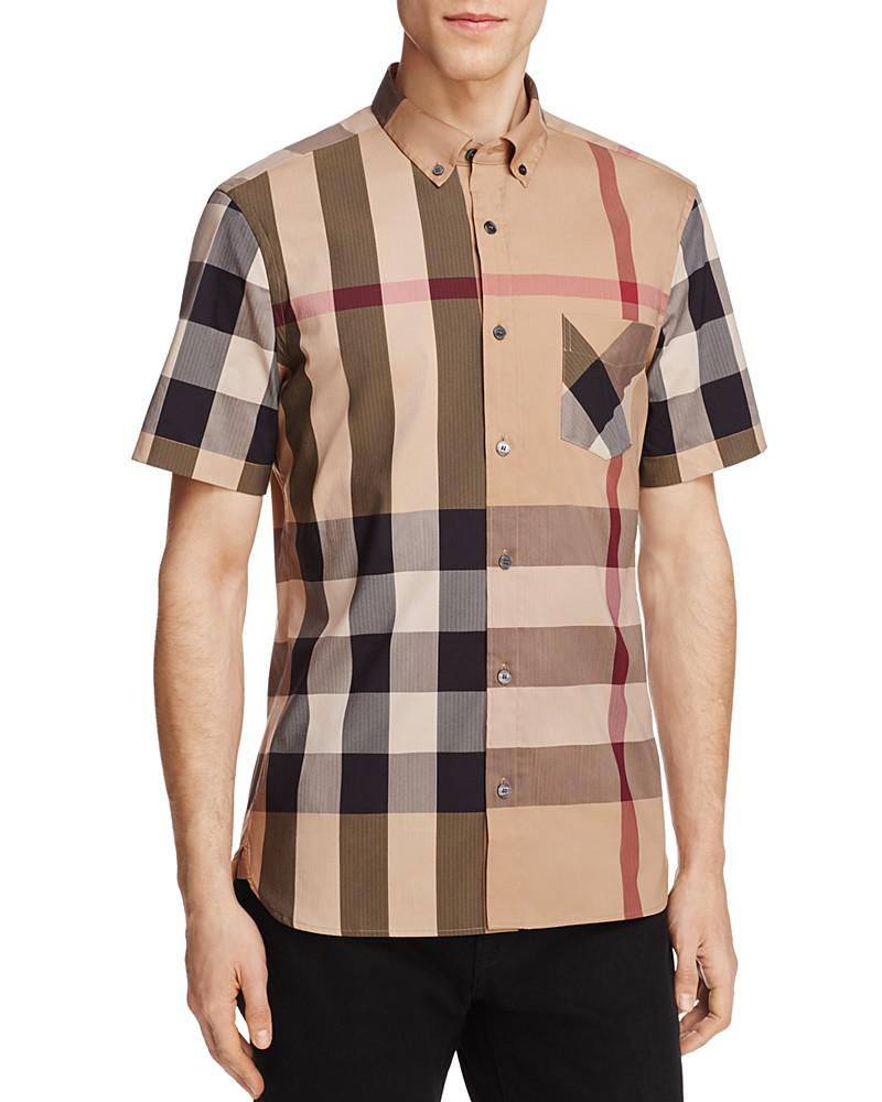Fashion clothing burberry thornaby plaid regular fit for Burberry brit green plaid shirt