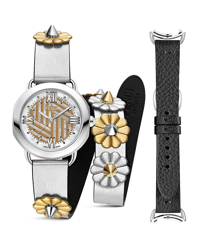 fendi selleria watch with interchangeable straps, 36mm