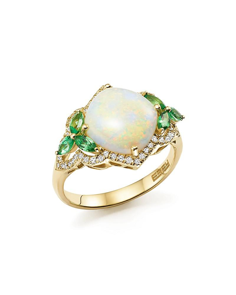 opal, tsavorite, and diamond ring in 14k yellow gold - 100% exclusive