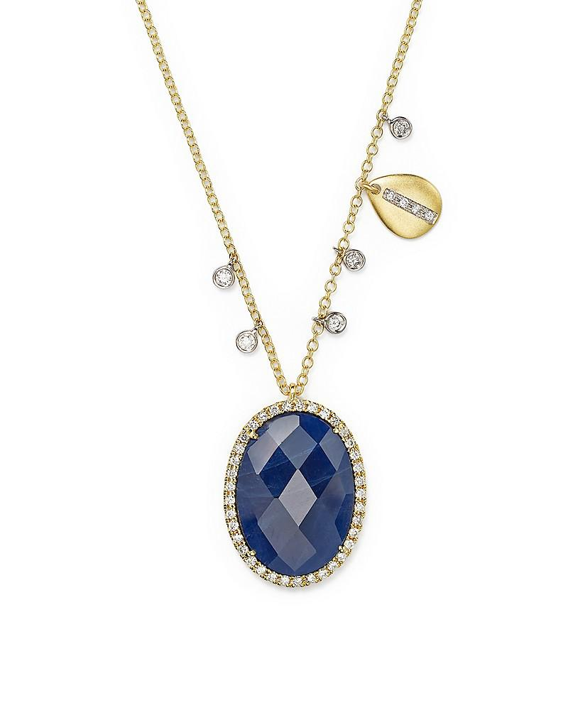 meira t 14k yellow gold and 14k white gold blue sapphire pendant necklace with diamonds, 16""