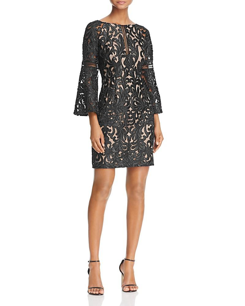 aidan mattox bell-sleeve lace dress