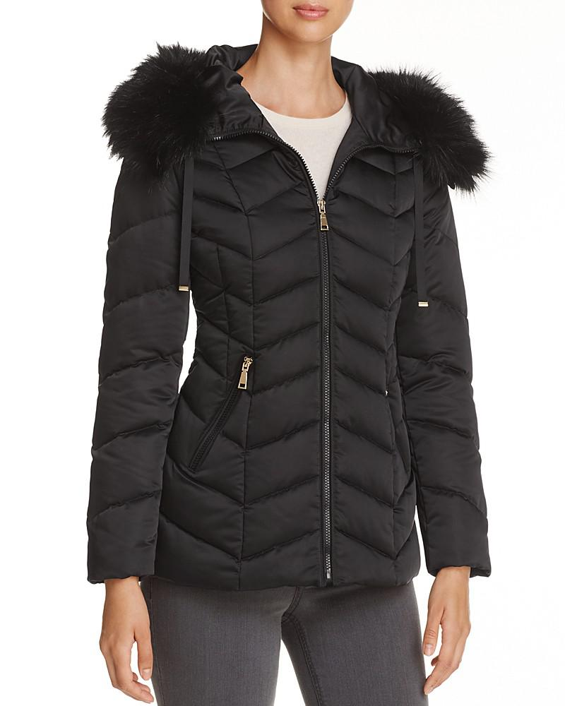 t tahari paris faux fur trim puffer coat