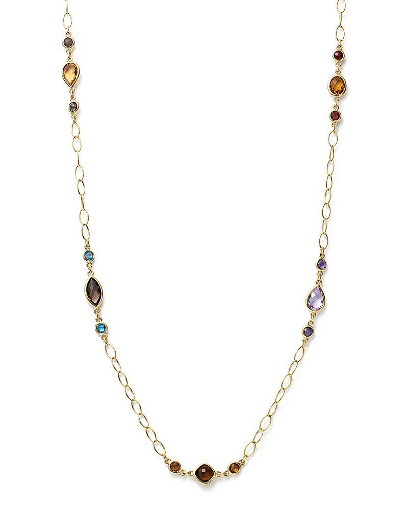 """multi gemstone chain necklace in 14k yellow gold, 28"""" - 100% exclusive"""