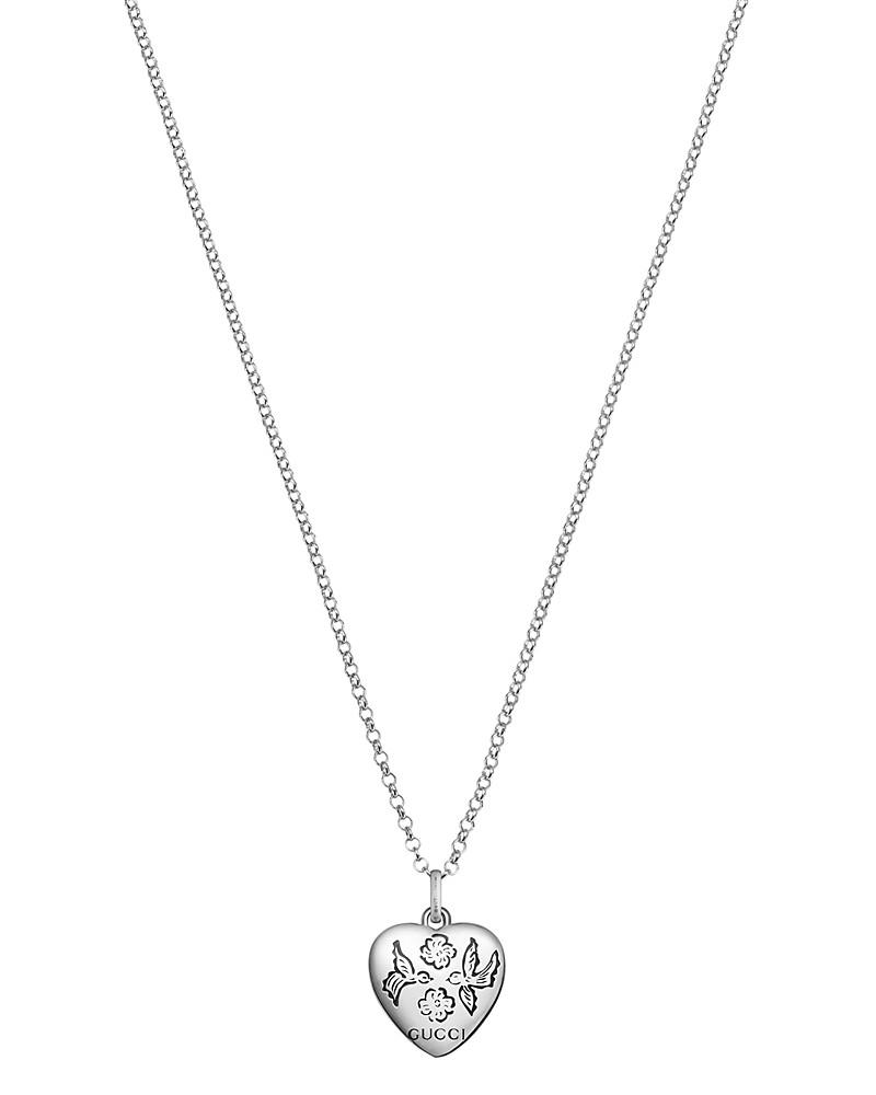 """gucci sterling silver blind for love engraved pendant necklace, 17"""""""