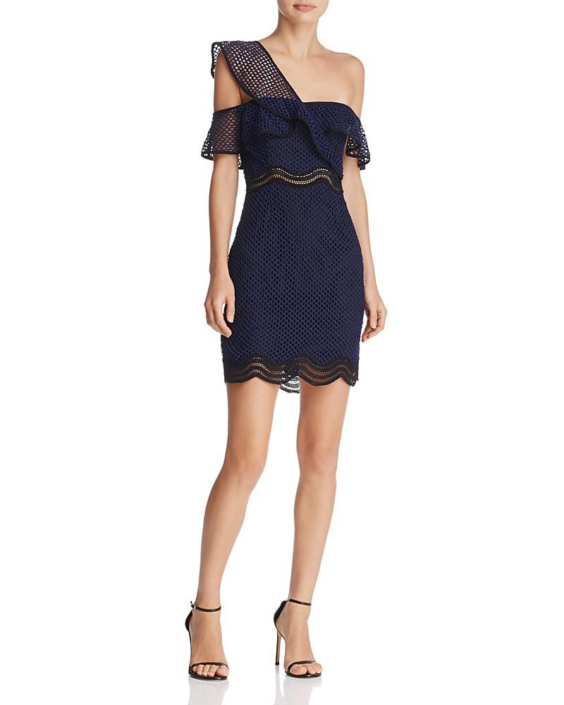 saylor one-shoulder mesh lace dress