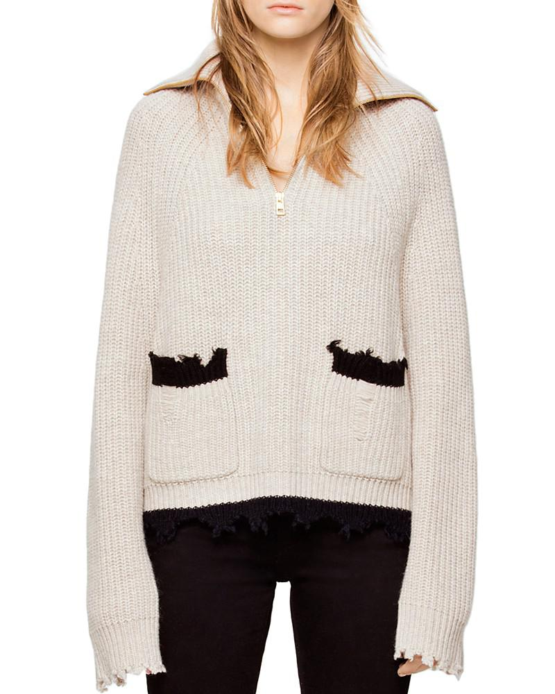 zadig & voltaire taliah distressed wool & yak sweater