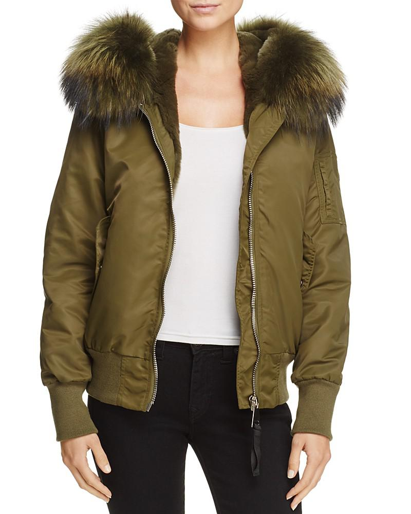 Peri Luxe Fur-Trim Hooded Bomber Jacket - 100% Exclusive