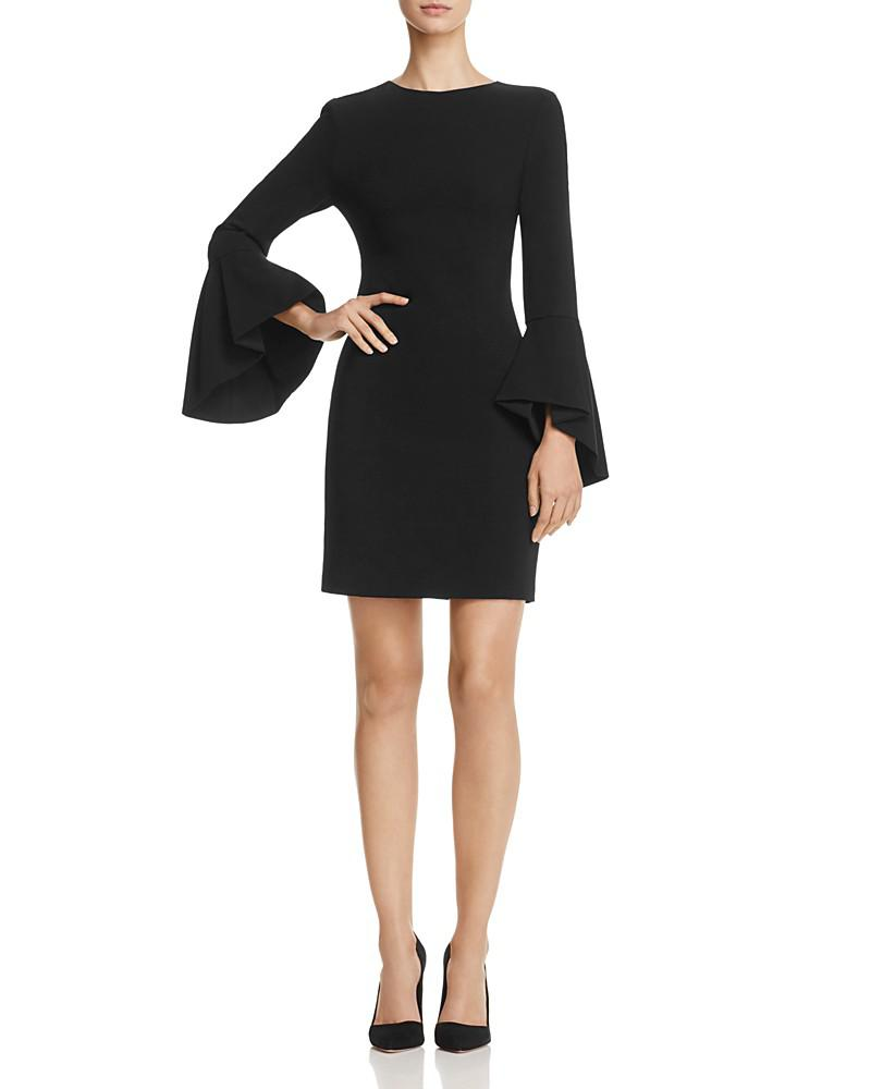 alice + olivia dora trumpet-sleeve dress