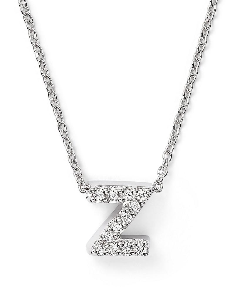 roberto coin 18k white gold initial love letter pendant necklace with diamonds, 16""