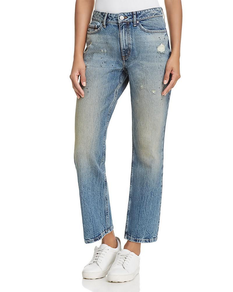 calvin klein distressed splatter straight jeans in tron blue