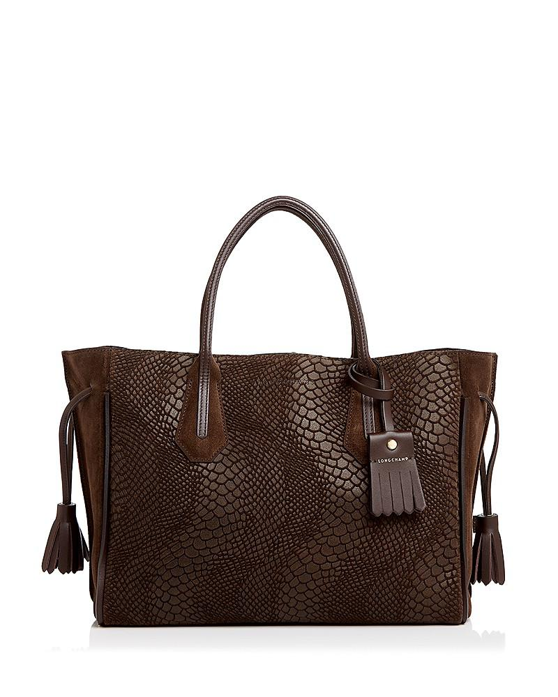 longchamp penelope medium python-embossed suede tote