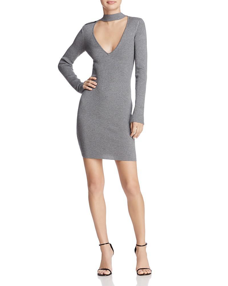 guess teagan cutout rib-knit dress