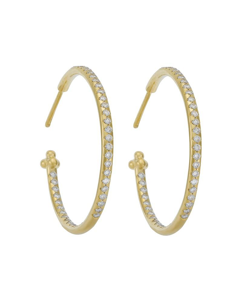 temple st. clair pavé hoop earrings in 18k yellow gold, 1.57 ct. t.w.