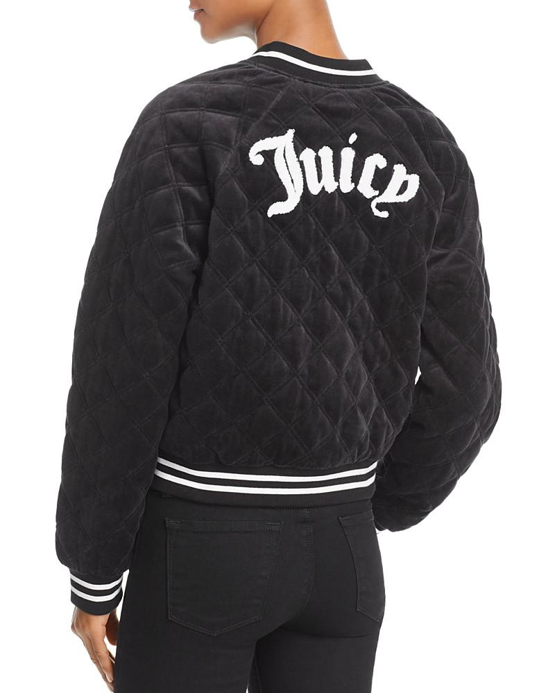 juicy couture black label quilted velour bomber jacket - 100% exclusive