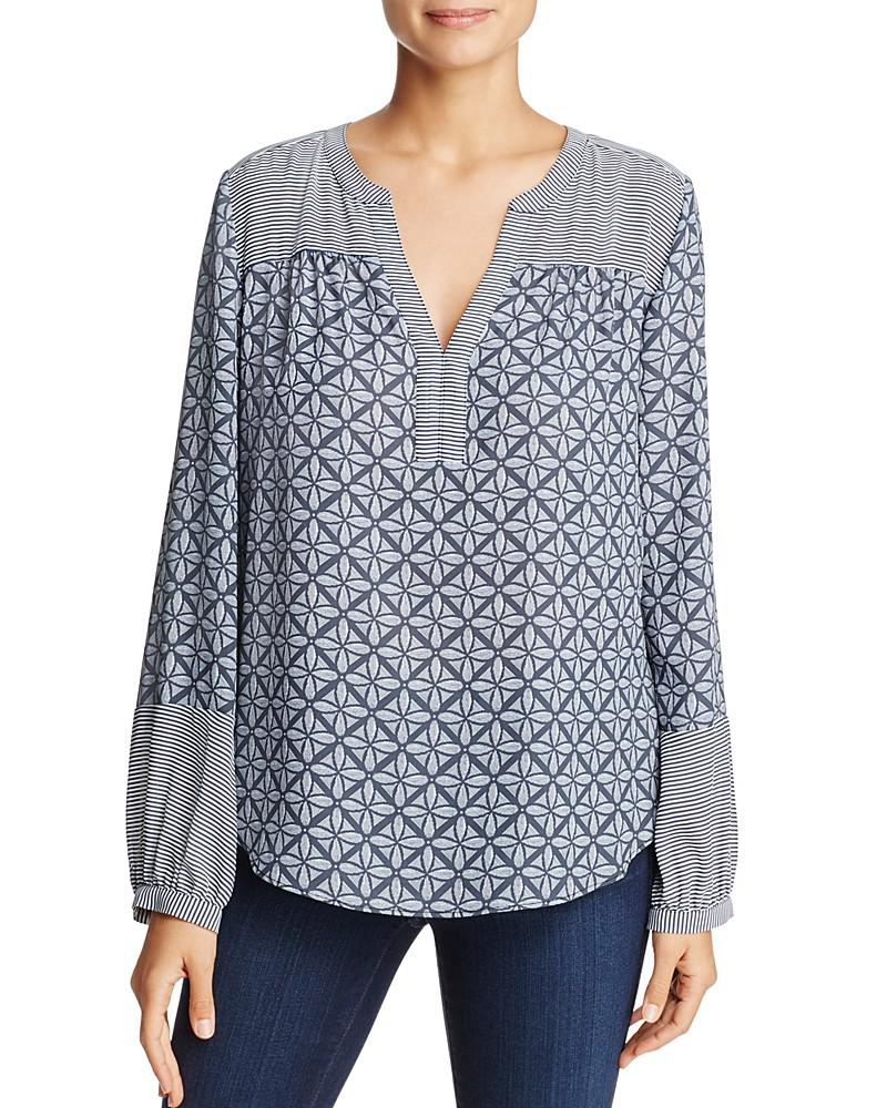 nydj mixed print peasant top