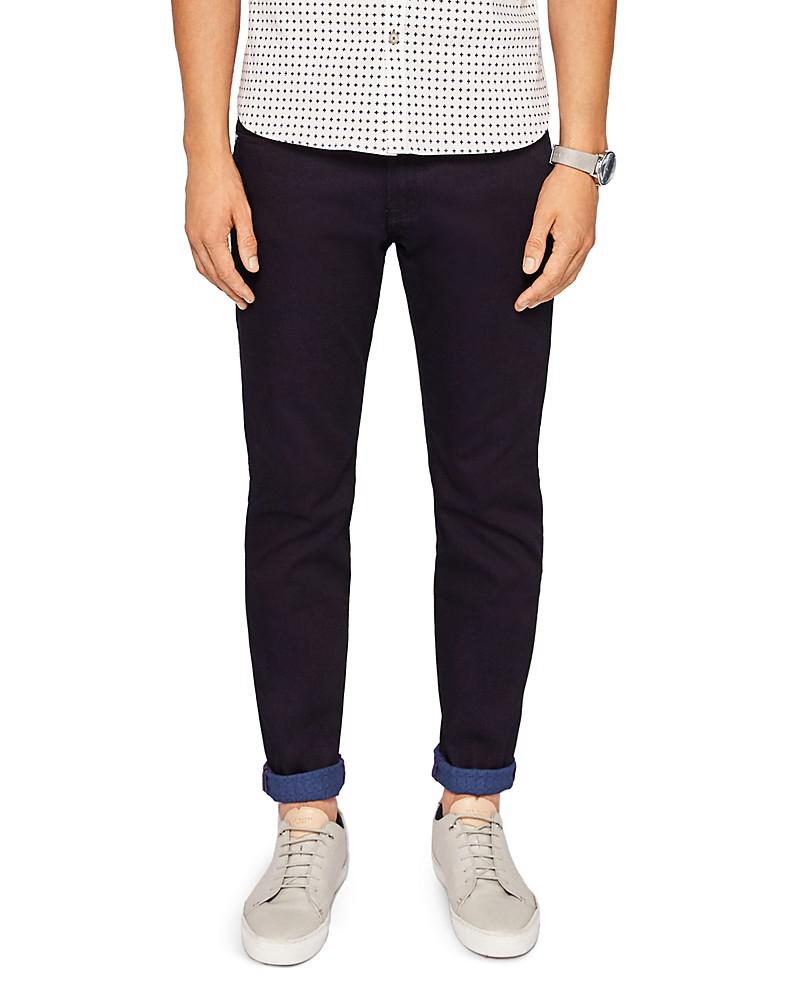ted baker sirrius straight fit jeans in dark blue