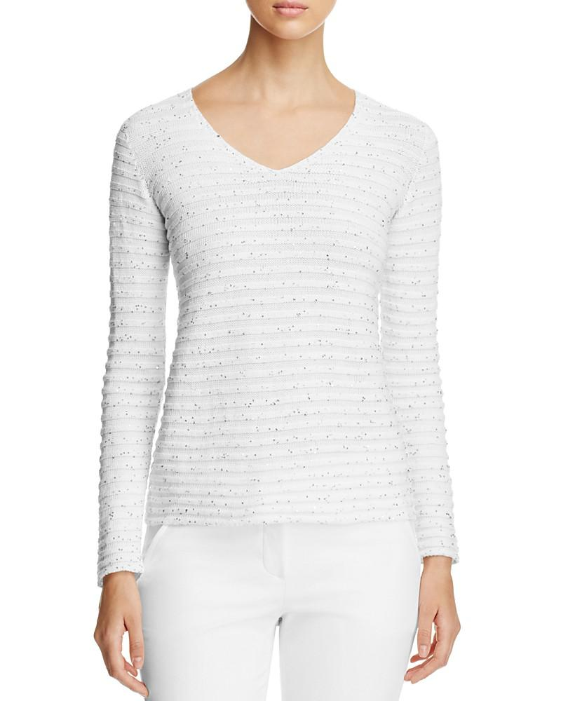 armani collezioni sequin striped sweater