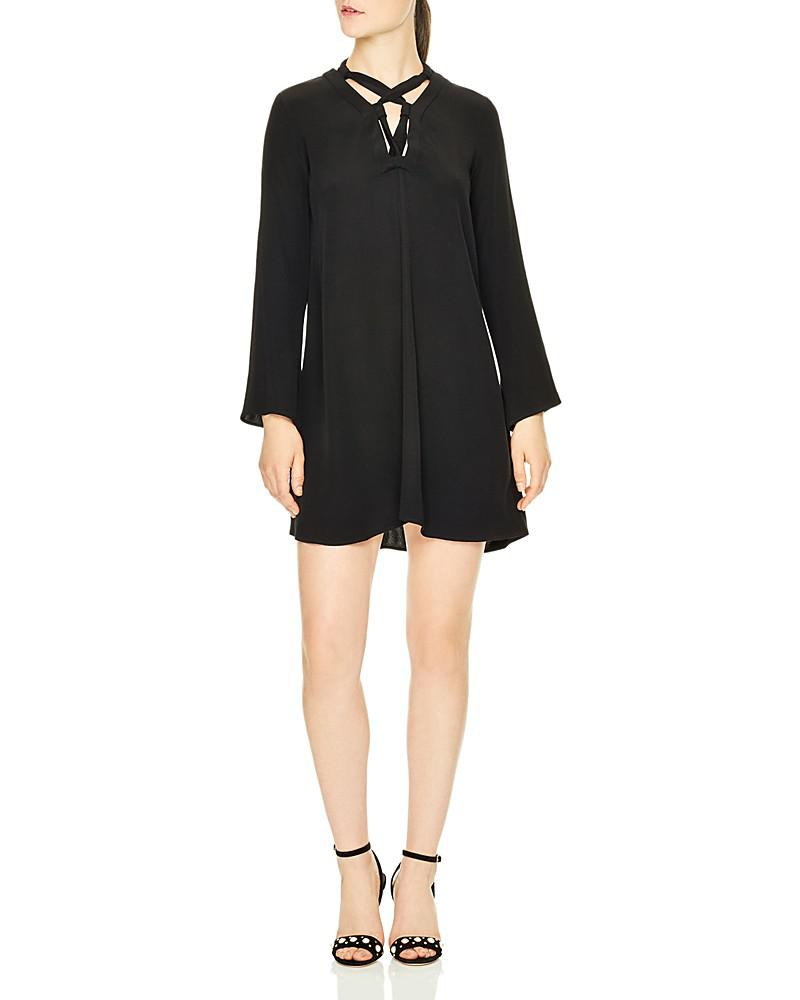 sandro lucina lace-up dress