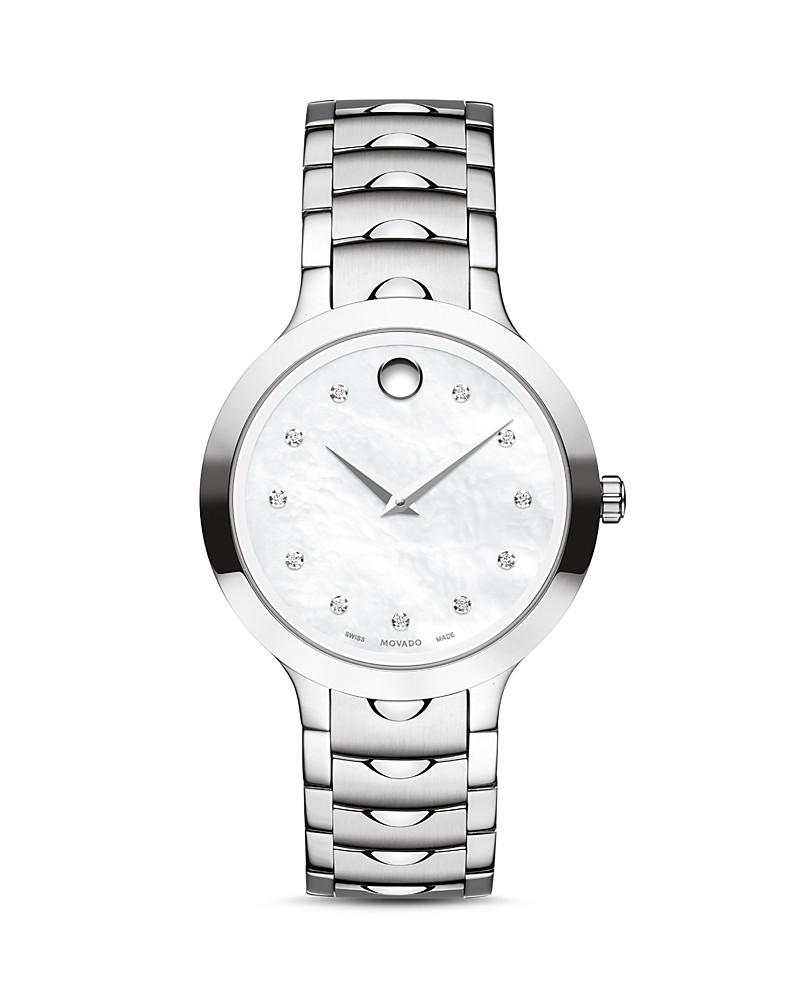 movado luno watch with diamonds, 32mm