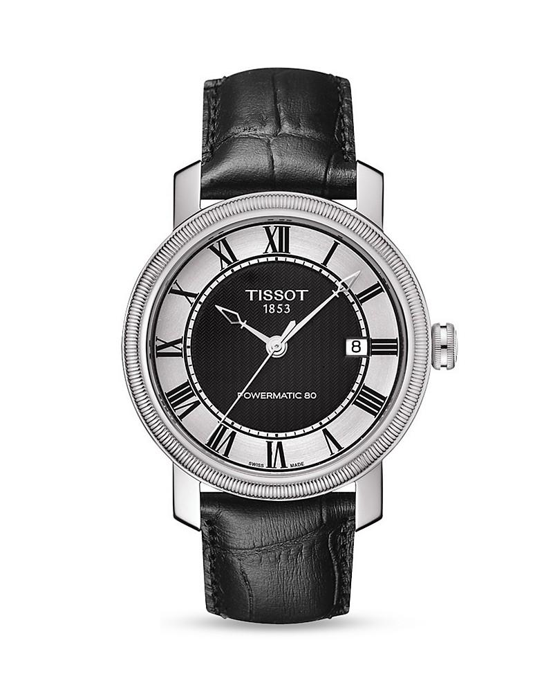 tissot bridgeport men's black automatic classic watch, 40mm