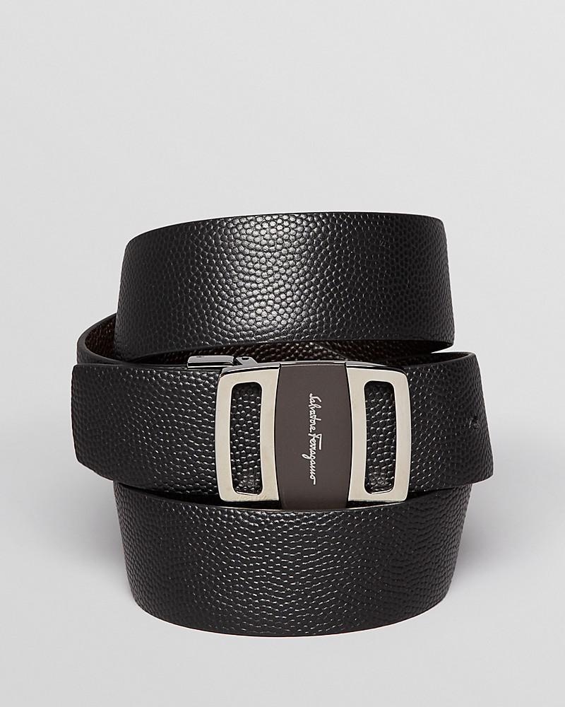 salvatore ferragamo pebbled leather reversible etched logo buckle belt