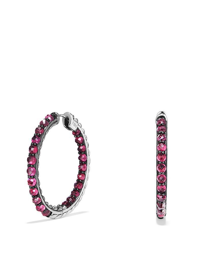 david yurman osetra hoop earrings with rhodalite garnet