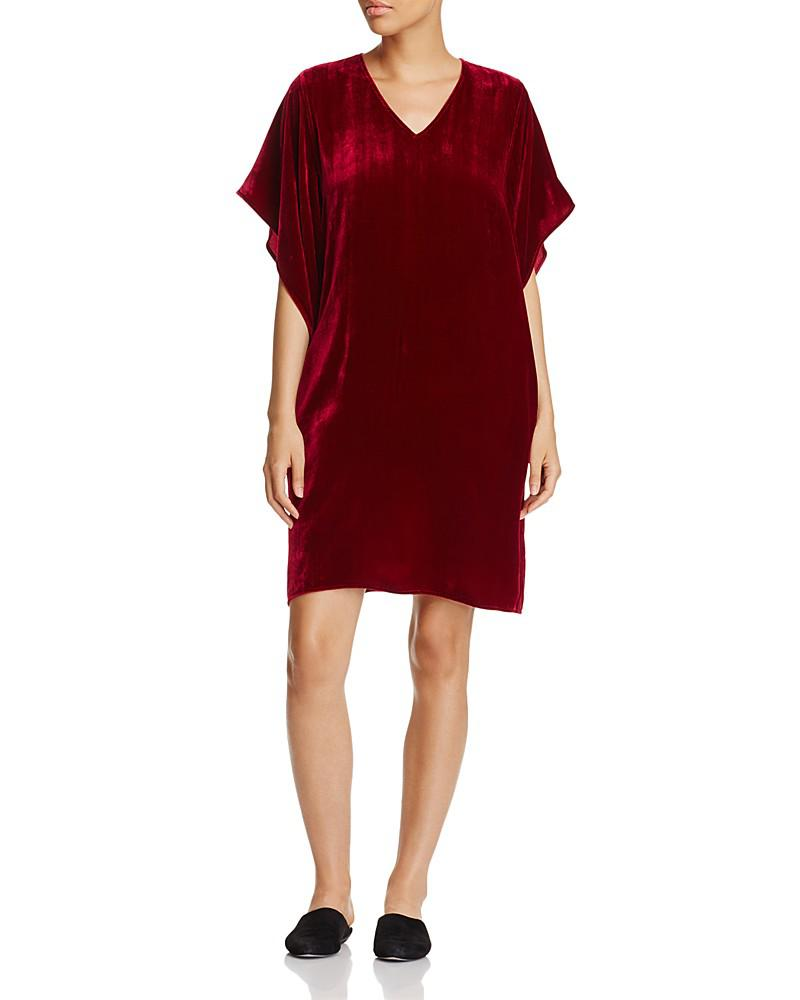 eileen fisher velvet kimono sleeve dress