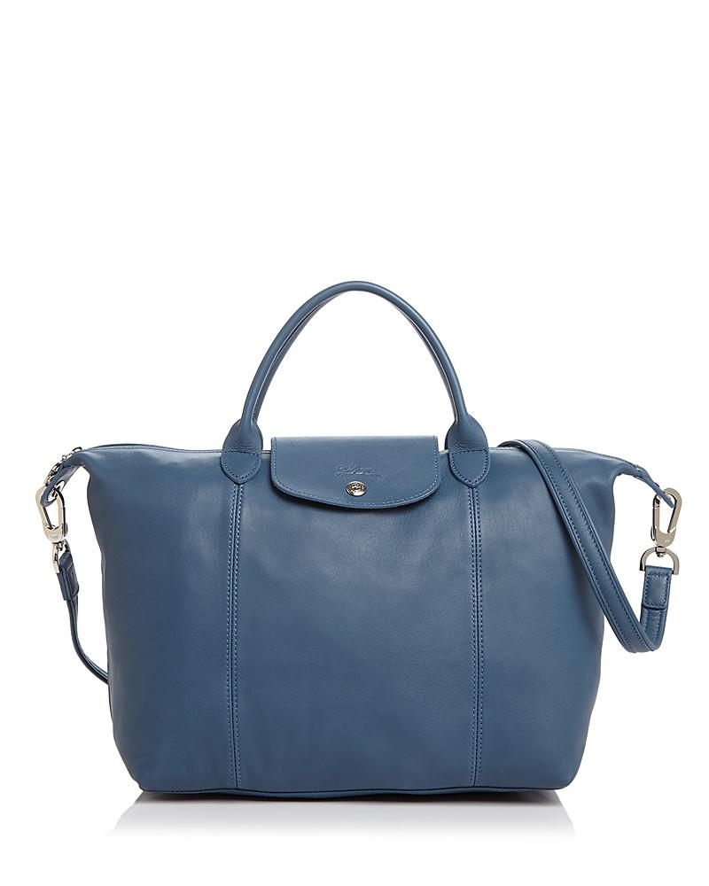 longchamp le pliage medium leather satchel