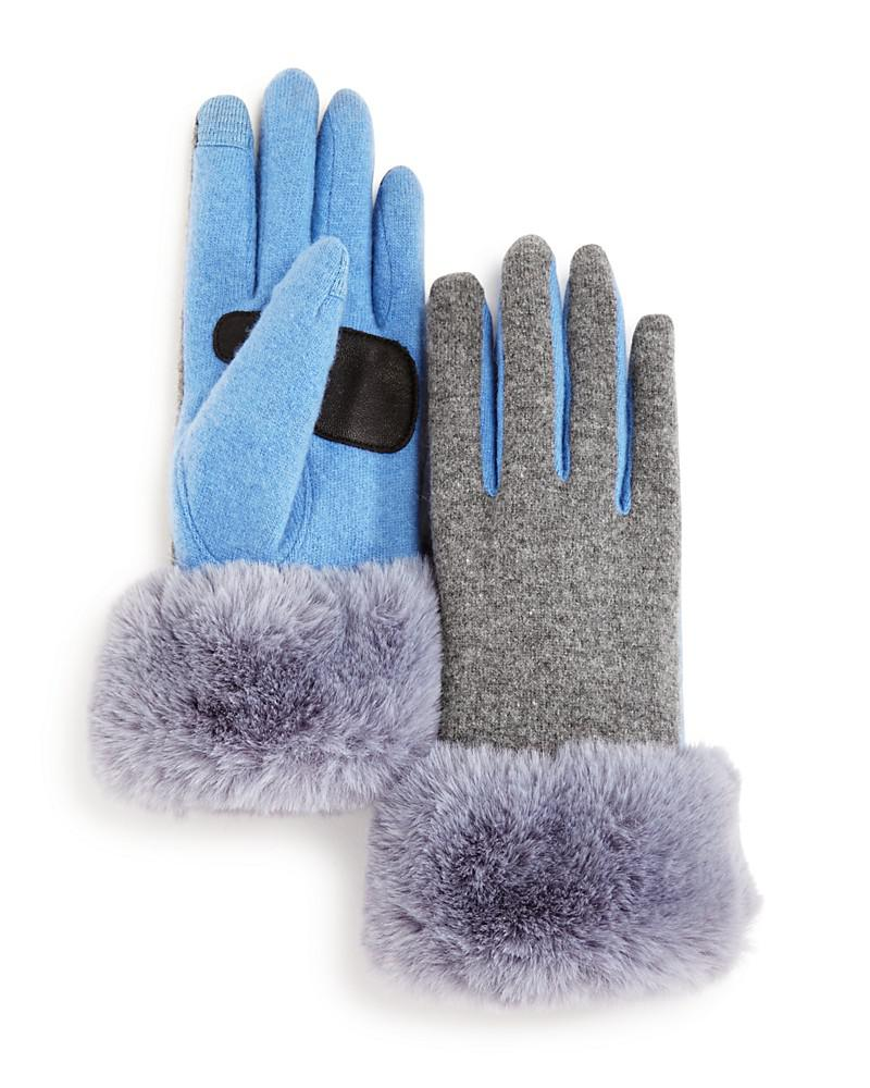 echo faux fur cuff tech gloves