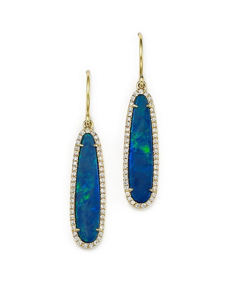 meira t 14k yellow gold opal earrings with diamonds