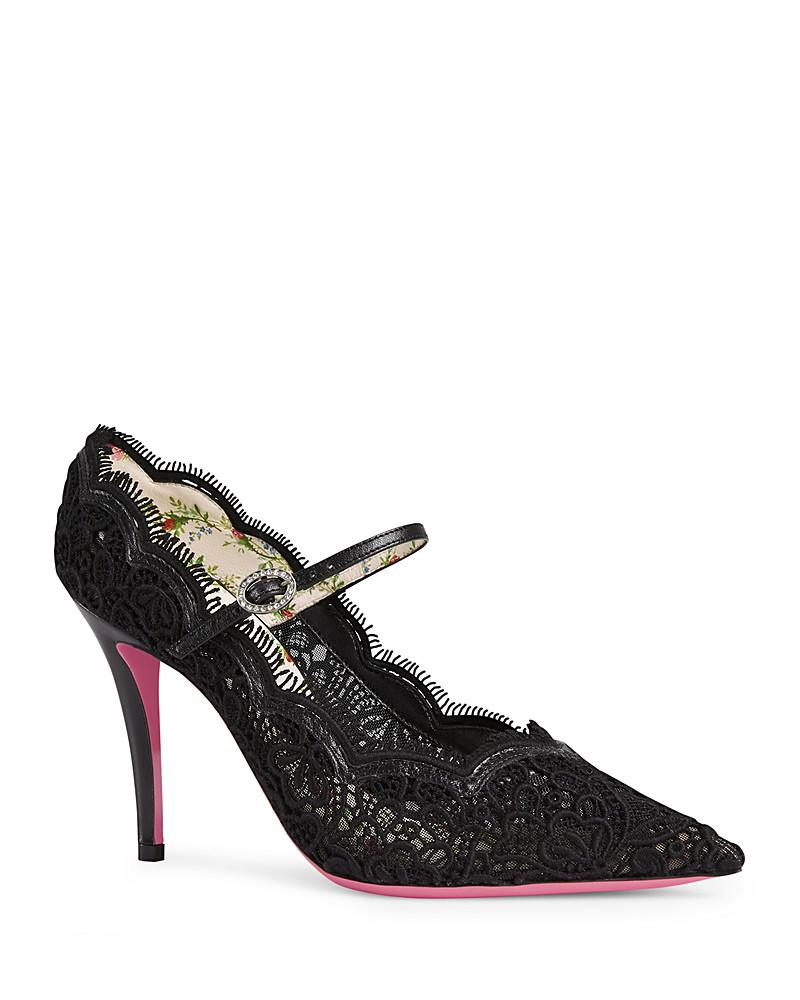 gucci virginia leather and lace mary jane pointed toe pumps