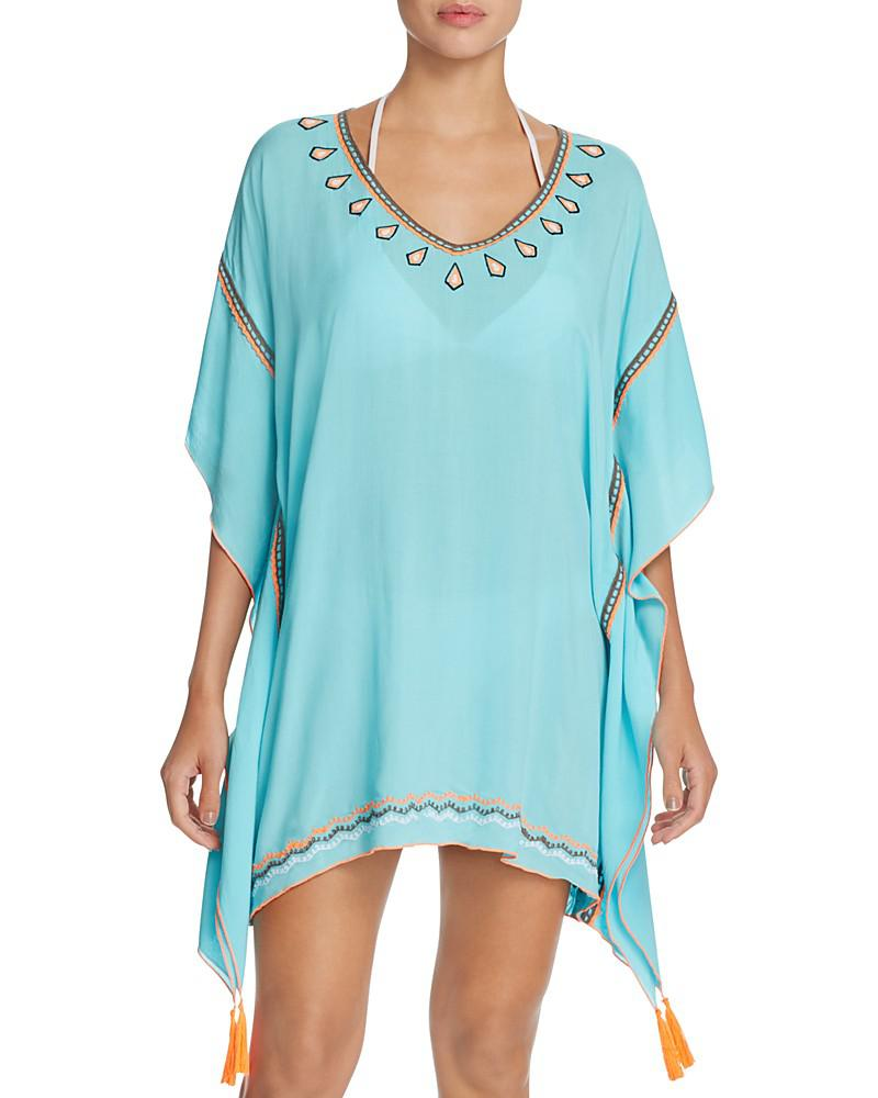surf gypsy embroidered tassel tunic swim cover-up