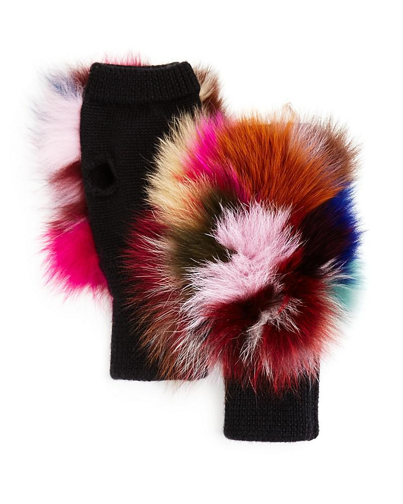 jocelyn fox fur knit mittens