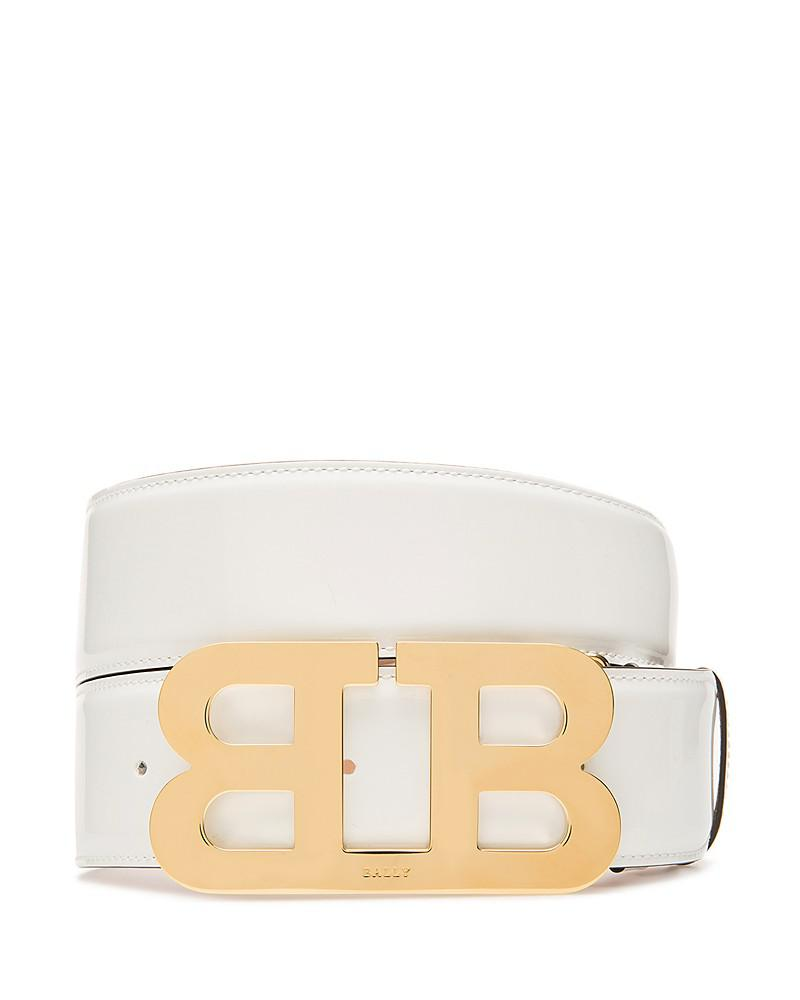 bally mirror b buckle patent leather belt