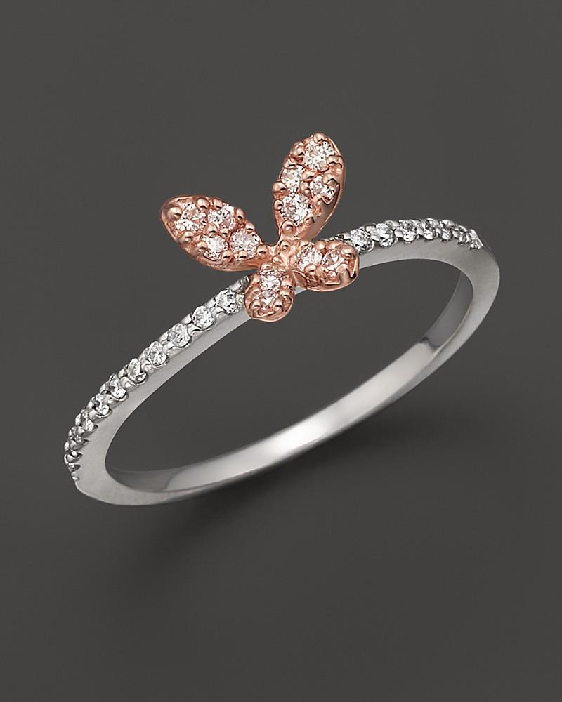 diamond butterfly ring set in 14k rose & white gold, 0.20 ct. - 100% exclusive