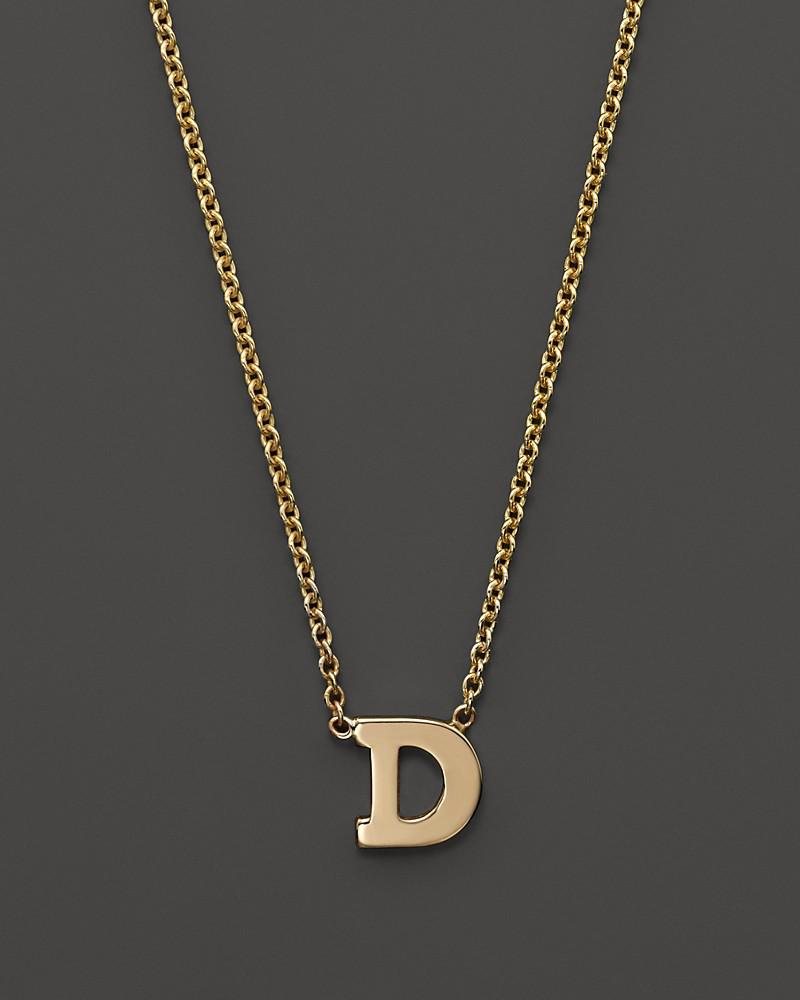 """zoë chicco 14k yellow gold initial necklace, 16"""""""