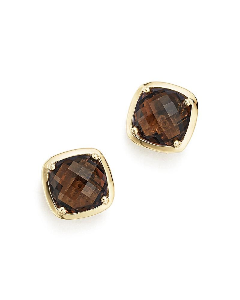 smoky quartz stud earrings in 14k yellow gold - 100% exclusive