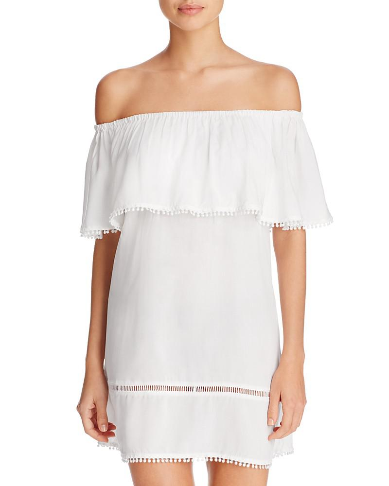 red carter off-the-shoulder dress swim cover-up