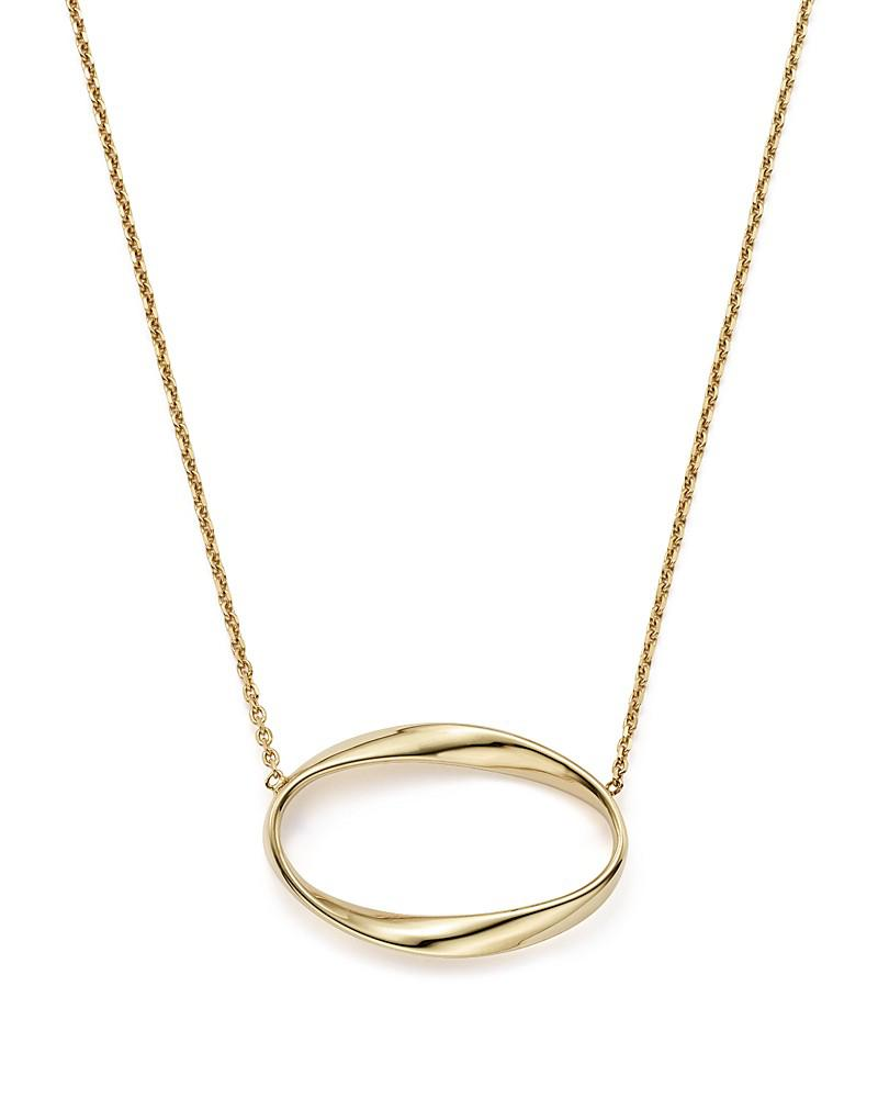 "14k yellow gold twisted oval pendant necklace, 16"" - 100% exclusive"
