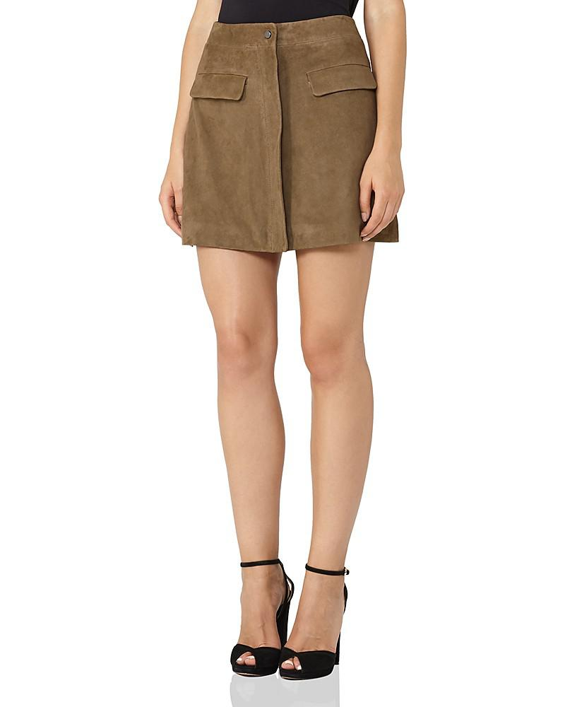 reiss marina a-line suede mini skirt